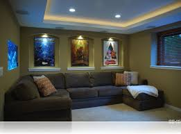 Decorations:Alluring Small Home Theater Room Ideas L Shape Grey Sectional  Sofa Green Painted Wall