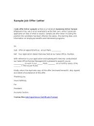 What Is An Offer Letter Sample Job Fer Letter Letter Alimy Us
