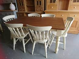 5ft dining table 6 matching chairs in annie sloan cream