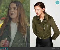 faux suede biker jacket in olive green by zara worn by grace rus bailee madison