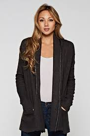 lovestitch faux leather trim cardigan front cropped image
