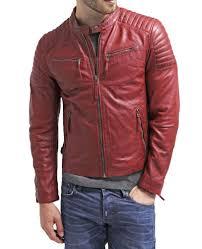lambskin leather jacket genuine mens stylish motorcycle biker red slim fit x56 westernoutfit motorcycle
