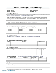 project weekly report format template status document template