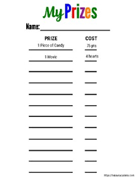 Chore Chart For Kids With Point Value For Purchasing Prizes