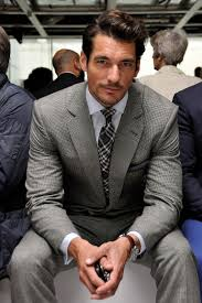 ... David Gandy wearing Grey Suit, White Dress Shirt, Charcoal Plaid Tie,  Charcoal Pocket
