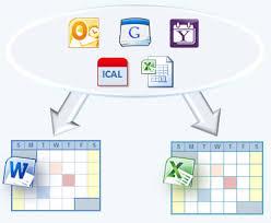 Export Google Outlook Yahoo Or Ical Calendar To Excel Word