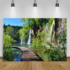 <b>Laeacco Nature</b> Backdrops Waterfall Mountain River Tree Wooden ...