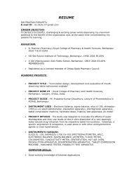 D Pharmacy Resume Format For Fresher Resume Format