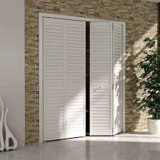 minimalist unframed bifold closet door be creative using louvered doors for home decorating ideas