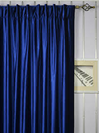 Whitney Blue Solid Back Tab Blackout Velvet Curtains