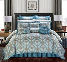 souq chic home jodamo 9 piece comforter set jacquard scroll faux silk bedding with pleated bed skirt decorative pillows shams included king blue