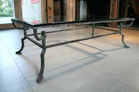 glass iron coffee table wrought end rustic wood and metal legs ikea cool