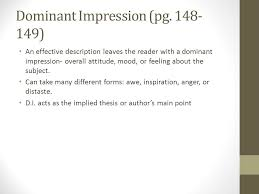 description essay day one graphic organizer pg intro  5 dominant impression