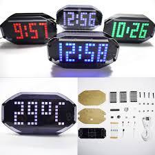 geekcreit diy black mirror led matrix desktop alarm clock kit with temperature display holiday and