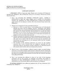 Complaint Affidavit For Oral Defamation Defamation Politics