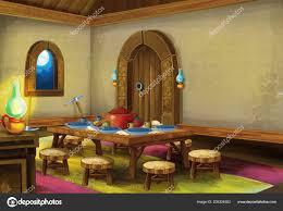 Interior Design Medieval Cartoon Scene Medieval Kitchen Room Interior Different Usage