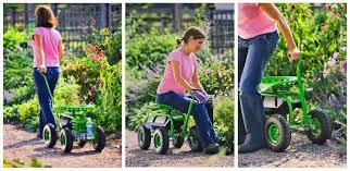 garden seat on wheels. Garden Work Seat / Rolling Cart With Wheels On E