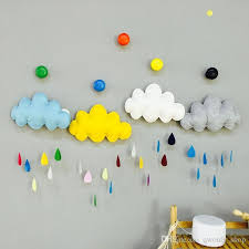 cartoon colorful wall stickers fabric silk wadding cloud raindrop removable kids baby room nursery creative wind chimes hanging wall decor wall decor