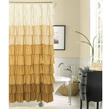 Tufted Striped White Cream And Brown Shower Curtain With Curvy