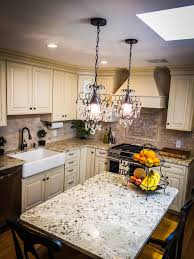 Granite With Cream Cabinets French Kitchenfarmhouse Sink Cream Cabinets Mini Chandelier