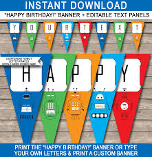 Robot Party Banner Template Birthday Banner Editable Bunting