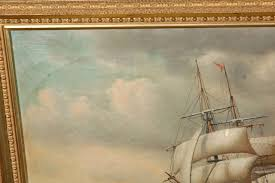 19th century signed american oil painting of a ship at sea for at 1stdibs