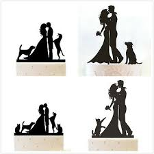 Family Wedding Cake Toppers Couple With Pet Cat Dog Funny