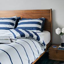imivimbo navy off white striped bed