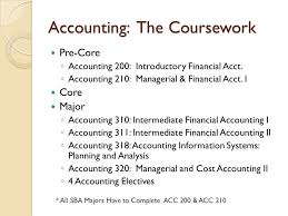 """what can i do a major in accounting finance """" presented by  accounting the coursework pre core ◦ accounting 200 introductory financial acct"""