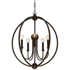 5 light dark bronze modern chandelier