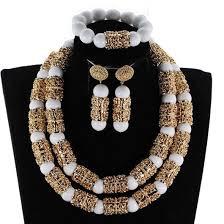 Splendid Navy Blue Nigerian Beaded Women Costume Jewelry