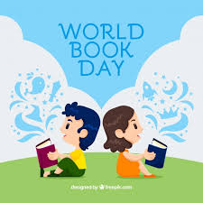 world book day background with kids reading free vector