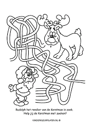 Kleurplaat Rudolph Rendier Kerst Spelletjes