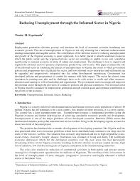 reducing unemployment through the informal sector in ia pdf  reducing unemployment through the informal sector in ia pdf available