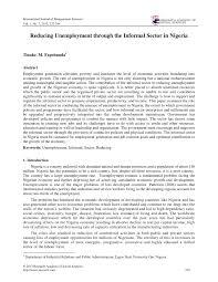 reducing unemployment through the informal sector in ia pdf  reducing unemployment through the informal sector in ia pdf available