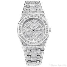 Designer Diamond Watches Bling Diamond Watch For Men Iced Out Luxury Mens Quartz Watches Man Dress Wristwatch Silver Stainless Steel Hot Fashion Relogio Masculino Discount