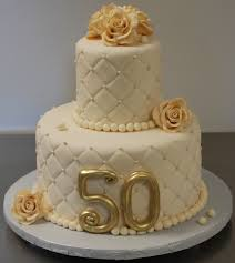 D00c70b6 D00c70b6 Gold And Elegant 50th Anniversary Cake Decoration