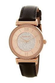 image of michael michael kors women s rose gold pave crystal leather strap watch