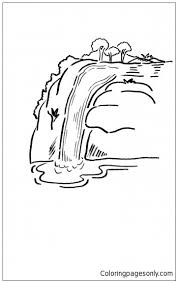 Kleurplaten Waterfalls Coloring Page Free Coloring Pages Online