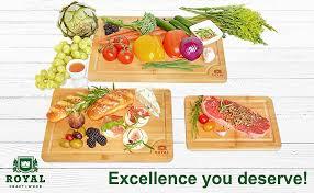 Organic Bamboo Cutting Board with Juice Groove (<b>3</b>-<b>Piece</b> Set)