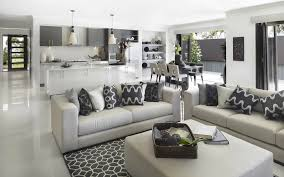 Living Room And Kitchen Color I Do Love How The Grey Keeps The Whole Area A Cohesive Space But