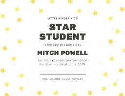 Star Of The Month Certificate Template White With Yellow Stars And Line Student Certificate Templates By