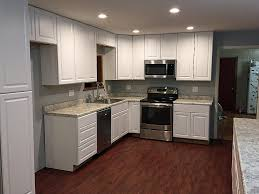 classic and rustic white kitchen cabinets from home depot