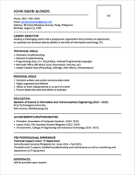 Sample Resume For Fresh Graduate Without Work Experience Sample Resume Format for Fresh Graduates OnePage Format 2