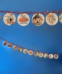 disc garland 6ft happy haunting bethany lowe vintage images tinsel new