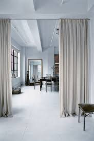 Wall Dividers Studio Apartment Ideas Light Gray Curtains Room Divider  Ceiling Track Minimal Open-Concept