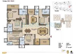 4 BHK 2848 Sq. Ft. Apartment for Sale in Prestige High Fields at Rs  6100/Sq. Ft, Hyderabad