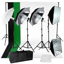 lusana studio photography kit 4 light bulb umbrella muslin 3 backdrop stand set