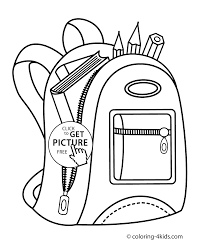 Backpack For School Coloring Page For Kids Printable Free Coloing