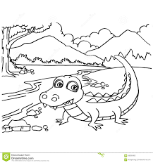 Crocodile Coloring Pages Vector Stock Vector Illustration Of Comic
